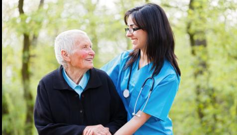 senior women and a caregiver woman
